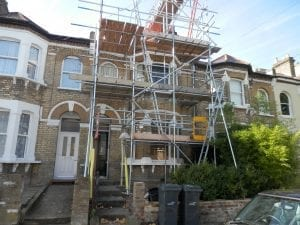 Scaffolding outside of terraced property